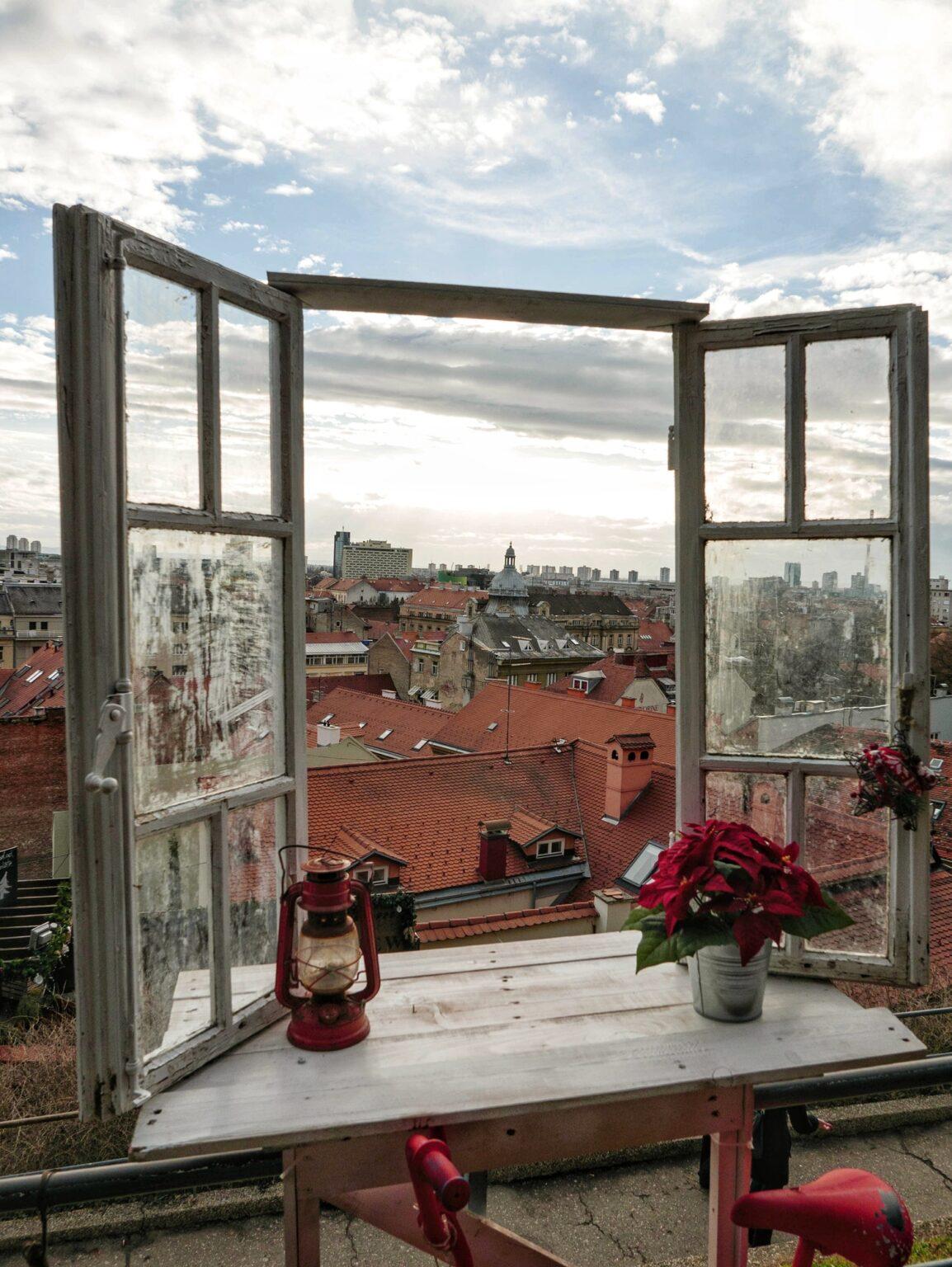 Window overlooking the city. Zagreb, Croatia. Winter, december, christmas.