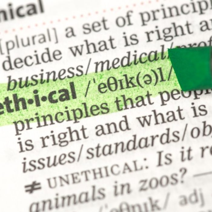 Ethical definition highlighted in green in the dictionary